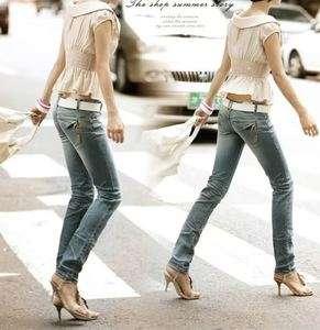 Korean Fashion Classic slim elasticity Jeans light blue
