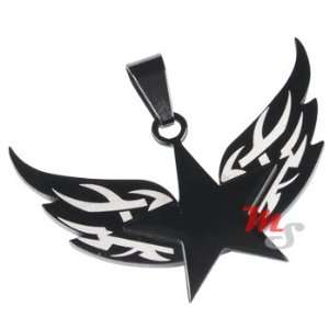 Tribal Star with Wings Black Titanium Pendant NECKLACE Jewelry