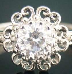 0177 Sterling Silver CZ Filigree Estate Ring