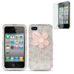 3D Pink Flower Bling Diamond Silver Hard Case For Apple iPhone 4S 4 w