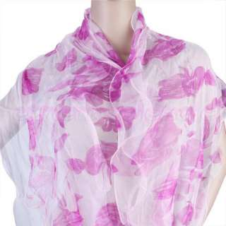 Women Soft Silk Sheer Long Scarf Shawl Wrap 2 Layers [SKU 12