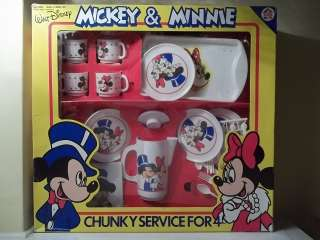 DISNEY MICKEY & MINNIE MOUSE CHUNKY SERVICE FOR 4 TEA SET NIB
