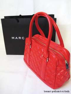 MARC JACOBS Red Quilted Bowler Bag Handbag Speedy Purse