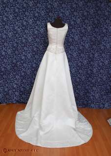 Ivory Satin A line Unique Beaded Wedding Dress 2 NWOT