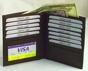 Mens BROWN Leather HIPSTER Wallet 13 CARDS 701