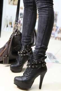 New Womens Studded High Heels Platform Lace up Ankle Boots Shoes US 9