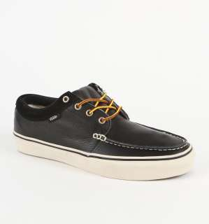 New Vans 106 Moccasin Black Leather Boat Shoes Womens 11.5 Mens Size