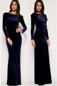 J319 WOMEN sexy slim VELVET NAVY blue long dress long sleeves S/M/L/XL