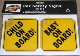 Baby On Board/Child On Board Auto Safety Signs Set of 2
