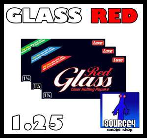 GLASS 1.25 RED COLORED Clear Transparent Rolling Papers