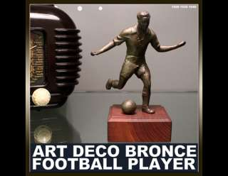 NICE ART DECO BRONZE STATUE FOOTBALL PLAYER CUP