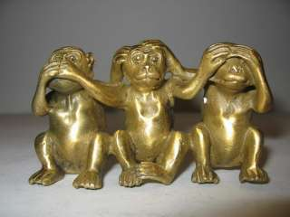 Solid Bronze See Speak Hear No Evil 3 Monkey Statues