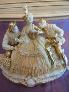 Porcelain Victorian Era Lady Two Men White Bisque Gold