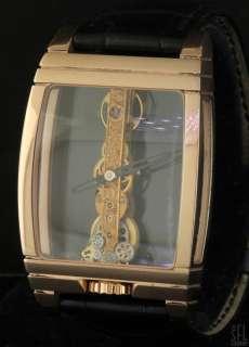 GOLDEN BRIDGE 18K ROSE GOLD LIMITED MENS WATCH W/ WOOD BOX & GLOVES