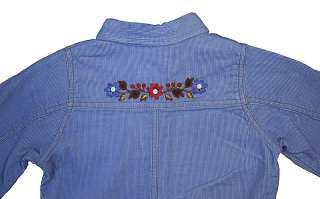 OshKosh Blue Corduroy Dress Long Sleeve Snap Front 5 Y