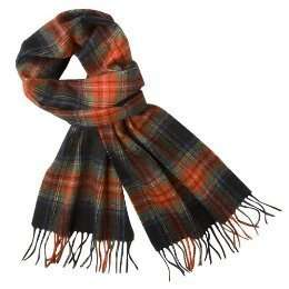 NWT Men Women BLACK RED GREEN PLAID 100% Cashmere SCARF