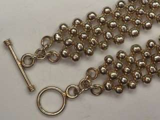 VINTAGE STERLING SILVER HEAVY BALL LINK T BAR CHAIN NECKLACE