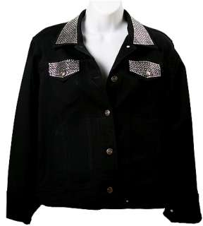 SIZE M Black Jean Jacket with rhinestone decorations