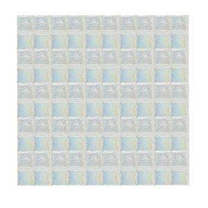 Glass 12 in. x 12 in. Ice White Iridescent Glass Sheet Mosaic Tile