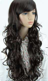 Costume womens long full curly/wavy Synthetic hair wig fashion 836
