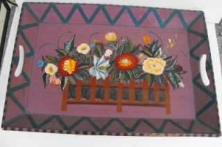 Large Tole ware Rosemaling Hand Painted Wood Tray |