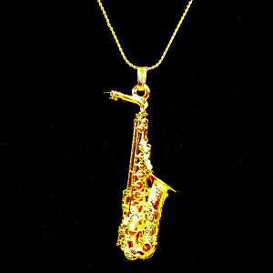 Selmer Alto Sax Replica Jewelry Necklace 24K Gold Plate