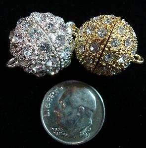 16mm Rhinestone ball magnetic jewelry clasp sterling silver plated