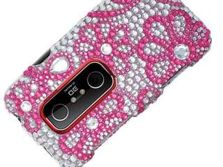 RHINESTONE BLING HARD CASE COVER HTC EVO 3D 4G HOT PINK