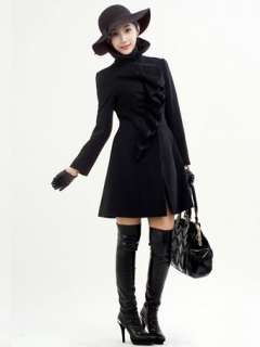 WOW Womens Temperament Top grade Falbala Woolen Long Winter Coat