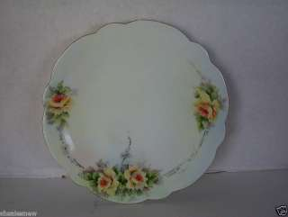 LIMOGES FRANCE PLATE HAND PAINTED YELLOW FLOWERS