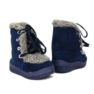 Baby Infant Winter Faux Suede Navy Boots Size 4 12 / Girls & Boys