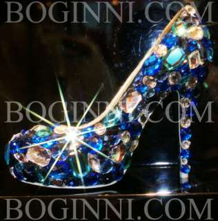 ICE BLUE CRYSTAL BLACK SATIN WEDDING BRIDAL PROM SHOES