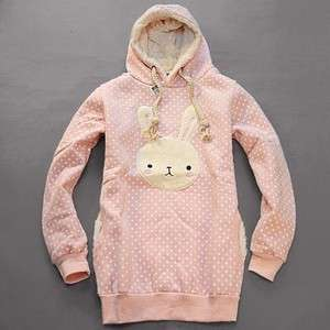 Womens Girls Casual Warm Cute Bunny Thick Hoodie Coat Top Sweatshirt