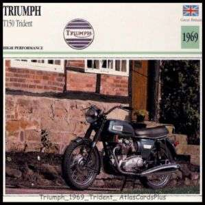 Motorcycle Card 1969 Triumph T150 Trident 750 triple |