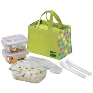 Lock and Lock Glass Lunch Box Set Green LLG414SG