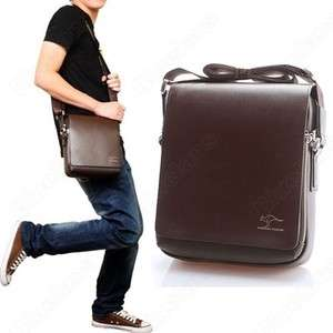 Fashion Kangaroo Mens Leather Crossbody Shoulder Messenger Bag