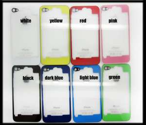 1PC Glass Clear Transparent Back Cover Housing Assembly For iPhone 4