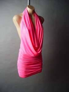 Neon Pink Low Cut Plunging Plunge Neck Halter Open Back Backless Club
