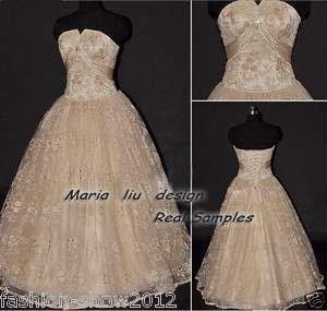 Beaded Pleated Neckline Ball Prom Gown Wedding Dress
