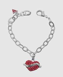 VALENTINE DAY RED CRYSTAL HEART LOGO BRACELET BANGLE WITH POUCH