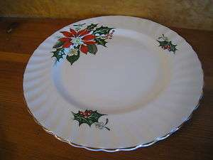 Queen Anne Bone China Salad Luncheon Plate NOEL England Poinsettia