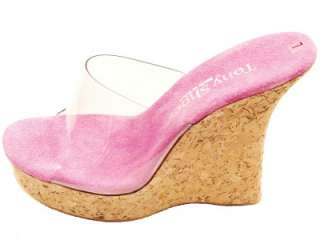 TONY SHOES CORK WEDGE HIGH HEEL PLATFORM MULES SANDALS FUSHIA CLEAR