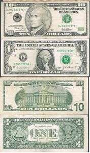 Lot Ten Dollas One Dollar Star Green Series 2003 2003