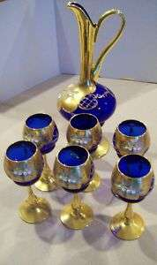 Murano Italy Cobalt Blue Glass Set & Pitcher 24k Gold Enamel Perfect