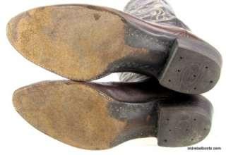 Olathe Brown Leather Cowboy Boots Curlicue Wave Stitch Men 11 B
