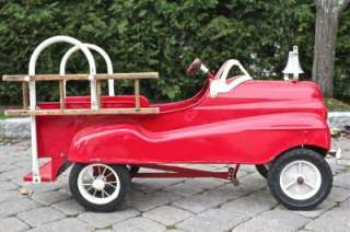 Vintage Fire Truck Metal Pedal Car Product Image