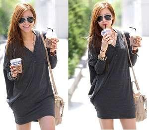 Fashion Batwing Dolman long Sleeve Casual Cotton V Neck Shirt