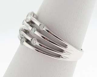 Genuine Diamonds Solid 14k White Gold Band Ring