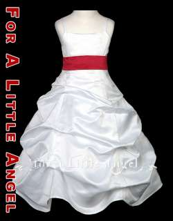SATIN FLOWER GIRL DRESS with RED PINK BLACK LILAC SASH