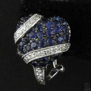 14K WHITE GOLD FANCY 2.52CTW DIAMOND/BLUE SAPPHIRE CLUSTER HEART